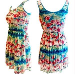 B. Darlin Watercolor Sleeveless Floral Dress 7/8